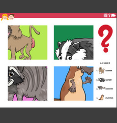 Guess animal characters educational game for kids vector
