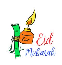 Hand draw card eid mubarak style colorful vector