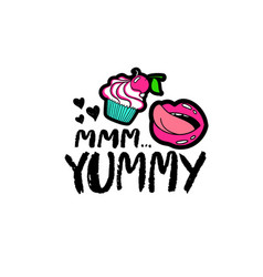 hand drawn lettering with cupcake vector image