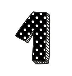 Hand drawn number 1 with white polka dots on black vector