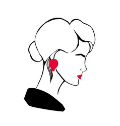 hand drawn profile portrait stylish young lady vector image