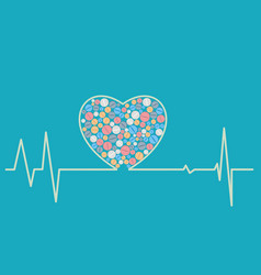 health concept - a heart shaped cardiogram vector image