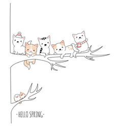 Hello spring group cute animals in kawaii style vector