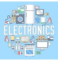 Home electronics appliances circle infographics vector image