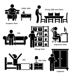 home house furniture stick figure pictogram icon vector image