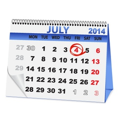 icon calendar for July 4 vector image