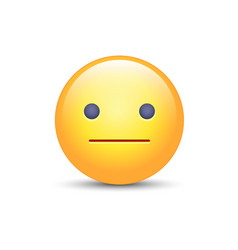 Indifferent emoji cartoon icon expressionless vector