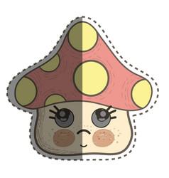 Kawaii fangus sad with cute cheeks and eyes vector