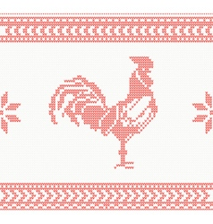 Knitted rooster seamless pattern in red color vector