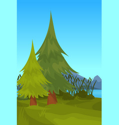 Landscape spruce mountain river reed outdoor vector