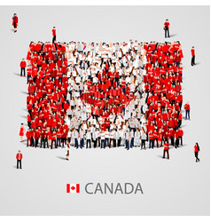 Large group of people in the canada flag shape vector