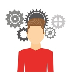 man avatar with gears machine icon vector image