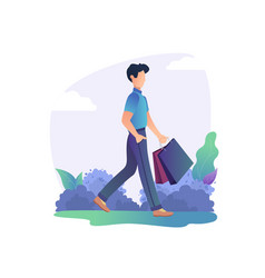 man is standing with shopping bag in park vector image