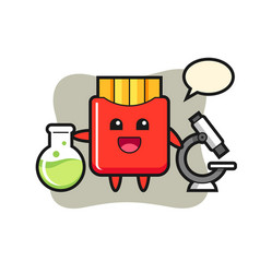Mascot character french fries as a scientist vector