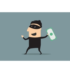 Masked thief with money in cartoon style vector image