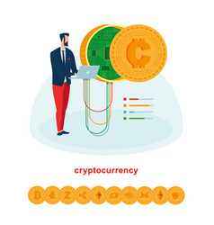 mining and works with cryptocurrencies vector image