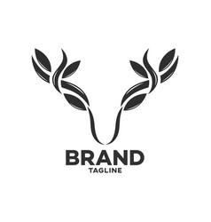 Modern deer with leaf horns logo vector