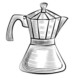 moka pot for brewing espresso coffee steel kettle vector image