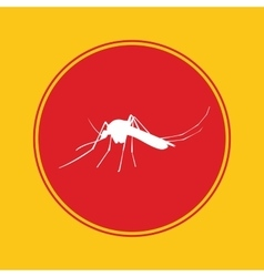 Mosquito icon with red danger alert vector