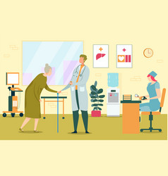 Old woman pensioner at therapists appointment vector