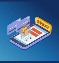 online shopping e-commerce isometric vector image