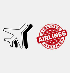 Outline airplanes icon and grunge airlines vector