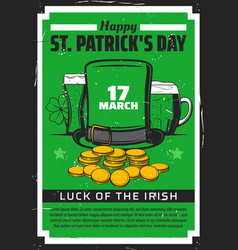 patricks day leprechaun hat clover gold and beer vector image