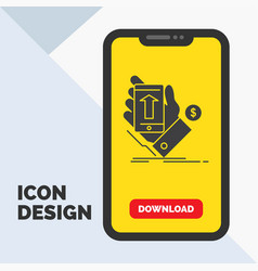 phone hand shopping smartphone currency glyph vector image