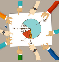 Pie chart team work on paper looking to business vector