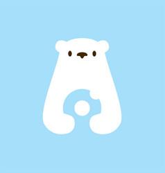 Polar bear donuts negative space logo icon vector