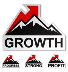 profit growth winter mountain stickers vector image