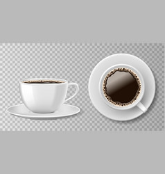 realistic coffee cup top view isolated on vector image