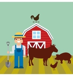 red barn over farm landscape vector image