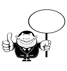 Retro businessman with Blank sign vector image