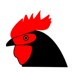Rooster head the black color icon vector
