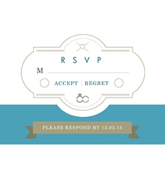RSVP Wedding card blue ribbon theme vector