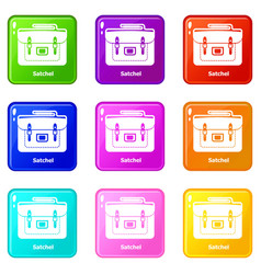 Satchel bag icons set 9 color collection vector