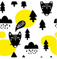 seamless pattern with funny fox in the woodland vector image