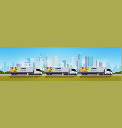 Semi truck trailer with organic vegetables on city vector