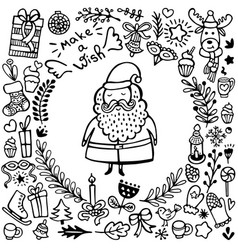 set cute hand-drawn christmas elements vector image