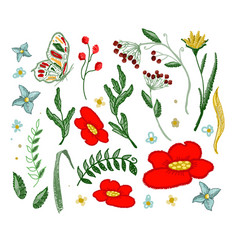 set of flowers embroidery elements vector image