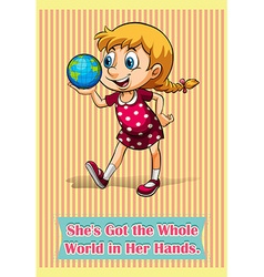 She got the world in her hands vector