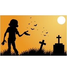Silhouette of scary zombie halloween vector