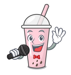 Singing raspberry bubble tea character cartoon vector