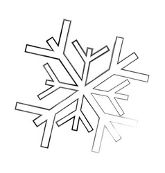 Sketch draw snowflake cartoon vector