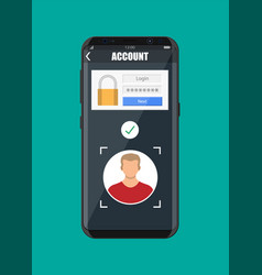 smartphone unlocked by face recognition vector image