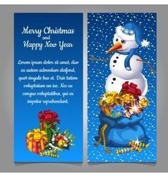 Snowman with bag of gifts vector image