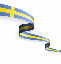 swedish flag wavy abstract background vector image