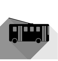 Trolleybus sign black icon with two flat vector