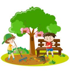 two boys raking leaves in garden vector image